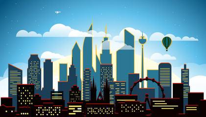 Modern cityscape in the evening vector illustartion. Big city scene