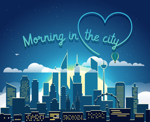 Modern cityscape in the morning vector illustartion. Morning in big city