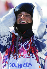 Kenworthy of the U.S. reacts on the finish line during the men's freestyle skiing slopestyle finals at the 2014 Sochi Winter Olympic Games in Rosa Khutor