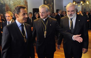 France's President Nicolas Sarkozy arrives at the Andorra's Parliament in Andorre-la-Vieille