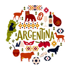 Argentina. A set of several elements, which we can get to know this country. Vector illustration.