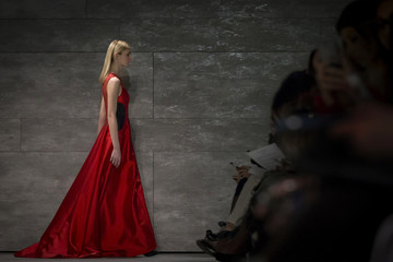 A model presents creations from the  Lie Sang Bong Fall 2014 collection during New York Fashion Week