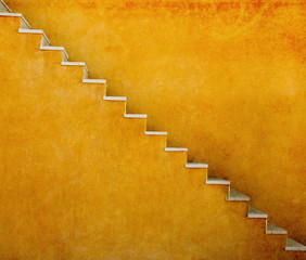Yellow wall with stairs texture background, minimalistic style for base image for posters, banners or covers, trivial design and simplicity is a trendy key for graphic arts