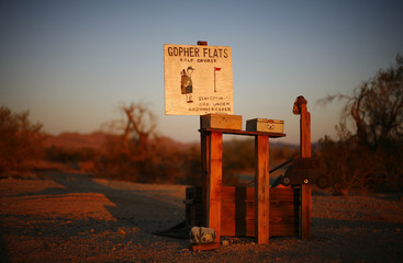 The first hole of the Gopher Flats golf course is seen in Slab City just outside Niland, California.