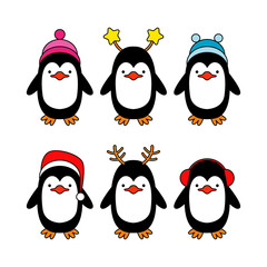 Vector holiday Christmas greeting card with cartoon penguins.