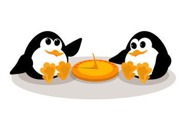 Concept of a sundial. Abstract image of two small penguins near a sundial on a white background. Children penguins near the old clock. Vector illustration