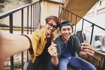 Asian Friends Taking Selfie