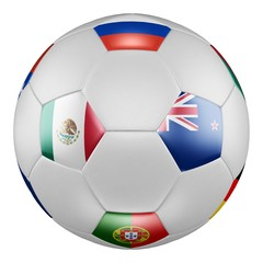Confederations Cup 2017 Group A. Match Mexico vs New Zealand. Soccer ball with flags of Russia, Mexico, New Zealand, Portugal on white screen. 3D rendering.