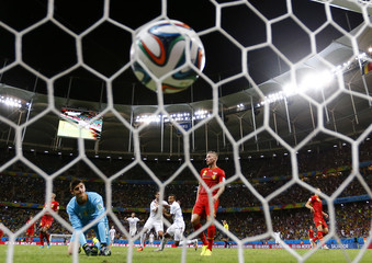 Green of the U.S. scores a goal against Belgium during extra time in their 2014 World Cup round of 16 game at the Fonte Nova arena in Salvador