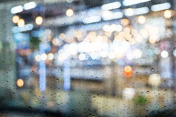 Drop on window car with the rainy night city
