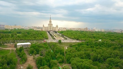 Aerial shot of the Moscow State University MSU and Vorobievy Gory or Sparrow Hills recreation area