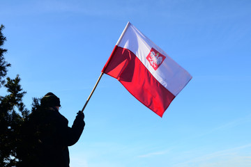 Man with flag of poland