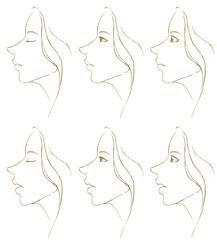 女性の横顔(セピア)