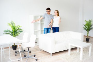 Couple in love in a new apartment