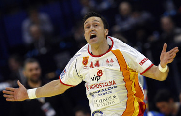 Macedonia's Temelkov reacts during the men's European Handball Championship match for the fifth place against Slovenia in Belgrade