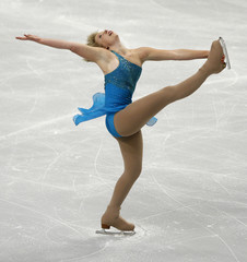 Flatt of the U.S. performs in the ladies short program during the Skate America figure skating competition in Portland