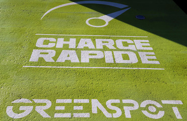 The logo of the Green Spot's recharging station of Enersoft company, the first service station for electric cars on a Carrefour hypermarket's parking is pictured in Bordeaux