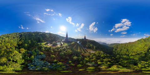Aerial Panorama of Doi Inthanon National Park, ChiangMai, Thailand (Full VR 360 Degree Seamless Spherical)