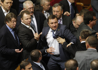 Members of Parliament scuffle over voting rules during the first session of the newly-elected Ukrainian parliament in Kiev