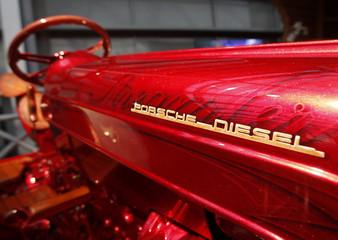The logo of a Porsche Diesel tractor is pictured during a press presentation prior to the Essen Motor Show in Essen