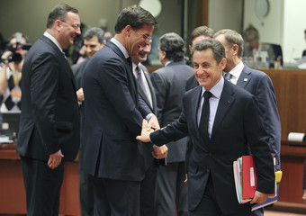 France's President  Sarkozy, Netherlands' Prime Minister Rutte and Czech Republic's Prime Minister Necas attend the EU summit in Brussels