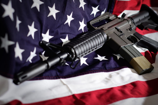 Flag of the USA with rifle