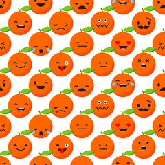 Seamless background with Orange emotions. Vector illustration.