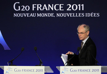 European Council President Van Rompuy arrives for a news conference on the second day of the G20 Summit in Cannes