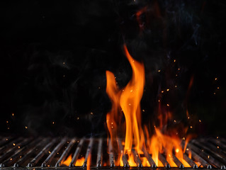 Acrylic Prints Grill / Barbecue Empty flaming charcoal grill with open fire