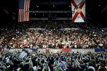 U.S. Republican presidential candidate Donald Trump addresses supporters during a campaign rally at the Pensacola Bay Center in Pensacola