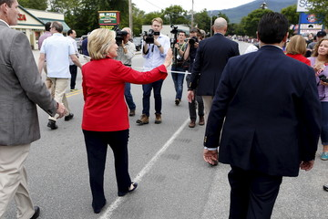 Former United States Secretary of State and Democratic candidate for president Hillary Clinton walks in the Fourth of July Parade in Gorham