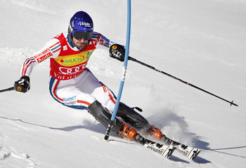 Jean-Baptiste Grange of France skis during the first leg in the men's World Cup Slalom skiing race in Val d'Isere