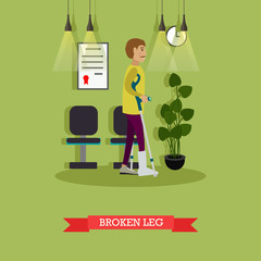 Man with broken leg vector illustration in flat style