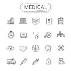 Medical icons set. Healthcare flat line icon style create by vector. Gray color tone. The set can be used for hospital website, healthcare banner, infographics and mobile app