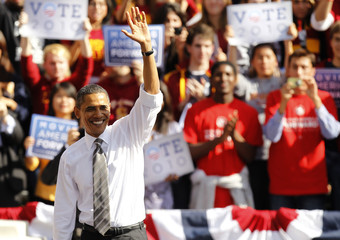 U.S. President Barack Obama waves after speaking at a campaign rally for Democratic Senator Barbara Boxer in Los Angeles