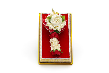 Isolated Carve jasmine garland made of soap for souvenir on white background