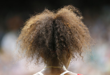 View of the hair of Serena Williams of the U.S. during her women's singles tennis match against Russia's Zvonareva at the All England Lawn Tennis Club during the London 2012 Olympic Games