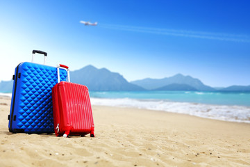 suitcase and beach