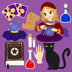 fortune teller character and items vector collection