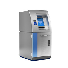 ATM Bank Cash Machine without shadow on white 3d