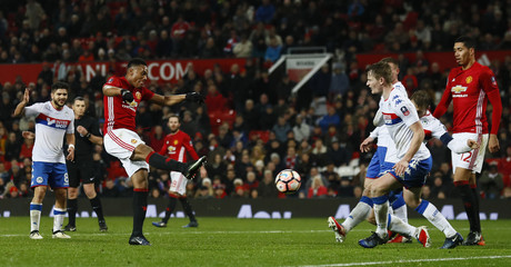 Manchester United's Anthony Martial scores a disallowed goal