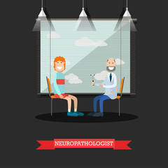 Neurologist and patient vector illustration in flat style