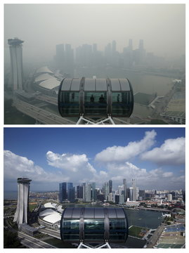 A combination photo shows people standing in capsules on the Singapore flyer observatory wheel overlooking the haze-shrouded and clear skylines skyline of the central business in Singapore