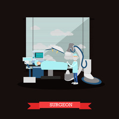 Surgeon and patient vector illustration in flat style