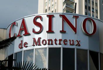 A logo is pictured on the Barriere Casino in Montreux