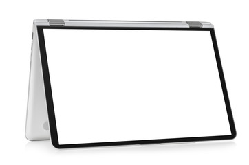 Convertible laptop computer with blank screen isolated on white background
