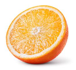 Orange half. Round orange slice isolated on white background. Half of fruit. With clipping path.