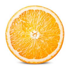 Orange fruit. Round orange slice isolated on white background. With clipping path.