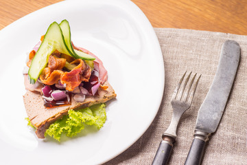 Danish specialties and national dishes, high-quality open sandwich