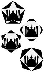 Set Mosque Symbol, Black White